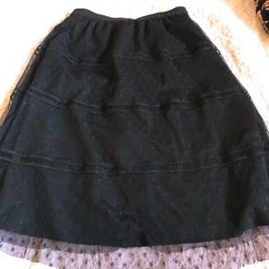 Black Multi-patterned Midi Skirt.